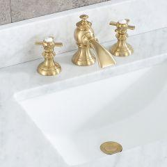 Modern Classic Widespread Waterfall Style Deck Mount Lavatory Faucets F2-0013 With Pop-Up Drain in Satin Gold Finish With Flat Cross Handles, Hot And Cold Index Included