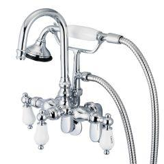 3-Handle Vintage Claw Foot Tub Faucet F6-0011 with Hand Shower and Handles