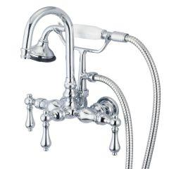 3-Handle Vintage Claw Foot Tub Faucet F6-0012 with Hand Shower and Handles