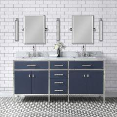 Marquis 72 In. Double Sink Carrara White Marble Countertop Vanity in Monarch Blue