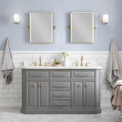 Palace 60 In. Double Sink White Quartz Countertop Vanity in Cashmere Grey with Satin Gold Hardware