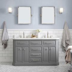 Palace 60 In. Double Sink White Quartz Countertop Vanity in Cashmere Grey with Polished Nickel Hardware